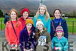 Molly O'Donoghue, Aoise O'Donoghue, Abby Cronin, Sarah O'Donoghue. Back row: Mairead Kelly, Connie Lynch and Ciara Furlong at the Glenflesk run on Sunday