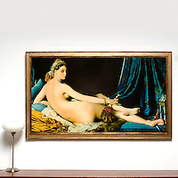 "Ingres: ""The Great Odalisque"", Digital Print, Image Dims. 35.5"" x 63"", Framed Dims. 41"" x 68.5"""