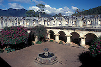 The cloister and fountains in the Capuchinas Convent  in the Spanish colonial city of Antigua, Guatemala