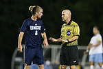 06 October 2015: Referee David Erbacher talks to UNCW's Kellen Foster (8). The University of North Carolina Tar Heels hosted the University of North Carolina Wilmington Seahawks at Fetzer Field in Chapel Hill, NC in a 2015 NCAA Division I Men's Soccer match. North Carolina won the game 3-0.