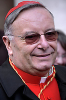Cardinal Francesco Montenegro, archbishop of Agrigento, Italy,during a consistory for the creation of new Cardinals at St. Peter's Basilica in Vatican.February 14, 2015