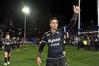 Matt Banahan of Bath Rugby celebrates the win with the crowd. European Rugby Champions Cup match, between Bath Rugby and Leinster Rugby on November 21, 2015 at the Recreation Ground in Bath, England. Photo by: Patrick Khachfe / Onside Images