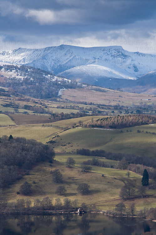 View across Ullswater to a snow covered Blencathra