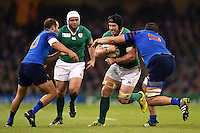 Sean O'Brien of Ireland takes on the France defence. Rugby World Cup Pool D match between France and Ireland on October 11, 2015 at the Millennium Stadium in Cardiff, Wales. Photo by: Patrick Khachfe / Onside Images
