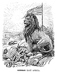 German [crossed out] East Africa. (the British Lion stands proudly in the desert with the British flag raised over a broken iron cross and a box with Fritz - A Place In The Sun during WW1)