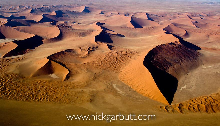 Sossusvlei Dunes from the air. Namib Naukluft Park, Namibia.