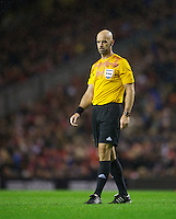 LIVERPOOL, ENGLAND - Thursday, October 4, 2012: Referee Stefan Johannesson takes charge of Liverpool versus Udinese Calcio during the UEFA Europa League Group A match at Anfield. (Pic by David Rawcliffe/Propaganda)