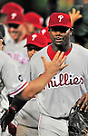 27 September 2010: Philadelphia Phillies' first baseman Ryan Howard celebrates with teammates after a division-clinching shutout against the Washington Nationals at Nationals Park in Washington, DC. With the 8-0 win, the Philles become the National League Eastern Division Champions. Mandatory Credit: Ed Wolfstein Photo