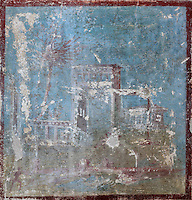 Fresco panel of a temple by a river, with boats and people, in a small room at the entrance to the Casa di Paquio Proculo, or House of Paquius Proculus, Pompeii, Italy. Pompeii is a Roman town which was destroyed and buried under 4-6 m of volcanic ash in the eruption of Mount Vesuvius in 79 AD. Buildings and artefacts were preserved in the ash and have been excavated and restored. Pompeii is listed as a UNESCO World Heritage Site. Picture by Manuel Cohen