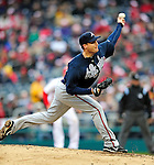 31 March 2011: Atlanta Braves pitcher Eric O'Flaherty in relief action on Opening Day against the Washington Nationals at Nationals Park in Washington, District of Columbia. The Braves shut out the Nationals 2-0 to start off the 2011 Major League Baseball season. Mandatory Credit: Ed Wolfstein Photo