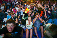 Moscow, Russia, 01/07/2012..Spanish supporters react as their team scores their third goal in the Euro 2012 Fan Zone in Gorky Park, as Spain beat Italy 4-0 in the final of the soccer championship.