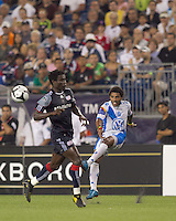 Puebla FC midfielder Andres Olivera (10) crosses the ball. The New England Revolution defeated Puebla FC in penalty kicks, in SuperLiga 2010 semifinal at Gillette Stadium on August 4, 2010.