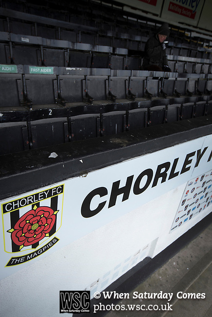 Chorley 2 Altrincham 0, 21/01/2017. Victory Park, National League North. An early arrival in the main stand at Victory Park, before Chorley played Altrincham in a Vanarama National League North fixture. Chorley were founded in 1883 and moved into their present ground in 1920. The match was won by the home team by 2-0, watched by an above-average attendance of 1127. Photo by Colin McPherson.