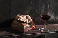 glass stone soil sample on a vat domaine du vissoux beaujolais burgundy france