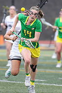 Towson, MD - March 25, 2017: Oregon Ducks Bella Pyne (14) runs for the ball during game between Towson and Oregon at  Minnegan Field at Johnny Unitas Stadium  in Towson, MD. March 25, 2017.  (Photo by Elliott Brown/Media Images International)