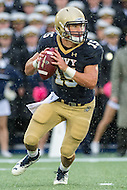 Annapolis, MD - OCT 8, 2016: Navy Midshipmen quarterback Will Worth (15) rolls out of the pocket during game between Houston and Navy at Navy-Marine Corps Memorial Stadium Annapolis, MD. The Midshipmen upset #6 Houston 46-40. (Photo by Phil Peters/Media Images International)