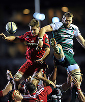 Dave Foley of Munster Rugby competes with Tom Croft of Leicester Tigers for the ball at a lineout. European Rugby Champions Cup match, between Leicester Tigers and Munster Rugby on December 20, 2015 at Welford Road in Leicester, England. Photo by: Patrick Khachfe / JMP