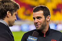 D. C. United head coach Ben Olsen is interviewed by NBC Sports Network. D. C. United defeated the New York Red Bulls 1-0 (2-1 in aggregate) during the second leg of the MLS Eastern Conference Semifinals at Red Bull Arena in Harrison, NJ, on November 8, 2012.
