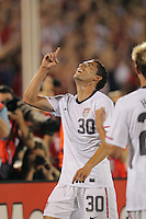 USA forward Herculez Gomez (30) celebrates his goal. In the Send Off Series, the Czech Republic defeated the US men's national team, 4-2, at Rentschler Field in East Hartford, Connecticut, on May 25, 2010.