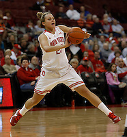 Ohio State Buckeyes guard Amy Scullion (25) passes in the first half against the Tennessee Martin Skyhawks at Value City Arena in Columbus Dec. 17, 2013.(Dispatch photo by Eric Albrecht)