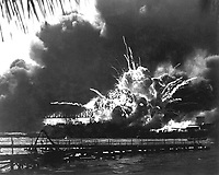 USS SHAW exploding during the Japanese raid on Pearl Harbor. December 7, 1941.  (Navy)<br /> NARA FILE #:  080-G-16871<br /> WAR &amp; CONFLICT BOOK #:  1135