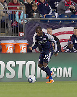 New England Revolution midfielder Sainey Nyassi (17) dribbles down the wing. In a Major League Soccer (MLS) match, Real Salt Lake defeated the New England Revolution, 2-0, at Gillette Stadium on April 9, 2011.