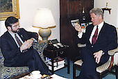 United States President Bill Clinton, right, meets Gerry Adams, President of the Northern Ireland political party Sinn F&eacute;in, left, in Tony Lake's White House Office in Washington, DC on Thursday, February 1, 1996.<br /> Mandatory Credit: Bob McNeely / White House via CNP