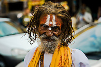Vaishnava ascetic with tilak on his forehead - two vertical lines, with dot in the center signifies that he is devotee of god Shiva. (Photo by Matt Considine - Images of Asia Collection)