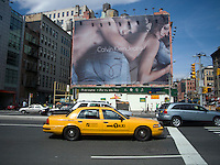 A Calvin Klein Jeans billboard in the Soho neighborhood of New York on Saturday, April 18, 2009.  Klein's advertisements use sex and provocative images to test society's cultural and moral boundries. (© Richard B. Levine)