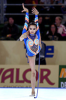 October 19, 2001; Madrid, Spain:  ALIYA YUSSUPOVA of Kazakhstan performs with rope at 2001 World Championships at Madrid.