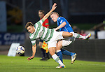 St Johnstone v Celtic...13.08.14  SPFL<br /> James Forrest is upended by Brian Easton<br /> Picture by Graeme Hart.<br /> Copyright Perthshire Picture Agency<br /> Tel: 01738 623350  Mobile: 07990 594431