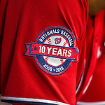 22 August 2015: Washington Nationals shortstop Ian Desmond displays the Nationals' 10 Year Anniversary Patch on his jersey during a game against the Milwaukee Brewers at Nationals Park in Washington, DC. The Nationals defeated the Brewers 6-1 in the second game of their 3-game weekend series. Mandatory Credit: Ed Wolfstein Photo *** RAW (NEF) Image File Available ***