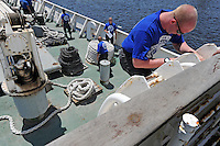 Haifa, Israel:.John Skovbo, from Denmark, leads a dry drill, during a course teaching to fight maritime terror and piracy, on a boat in Haifa Port..June 11, 2009 (Photo by Ahikam Seri).