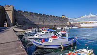 Fine Art Print Photograph. Colourful Greek fishing boats docked in a port in Rhodes Greece.
