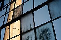 A view from the grease department. Frigorifico (Slaughterhouse) Anglo, Fray Bentos, Rio Negro, Uruguay.  ..Una vista desde el departamento de grasería. Frigorifico Anglo, Fray Bentos, Río Negro, Uruguay.