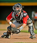 19 July 2012: Tri-City ValleyCats catcher Tyler Heineman warms up prior to a game against the Vermont Lake Monsters at Centennial Field in Burlington, Vermont. The ValleyCats defeated the Lake Monsters 6-3 in NY Penn League action. Mandatory Credit: Ed Wolfstein Photo