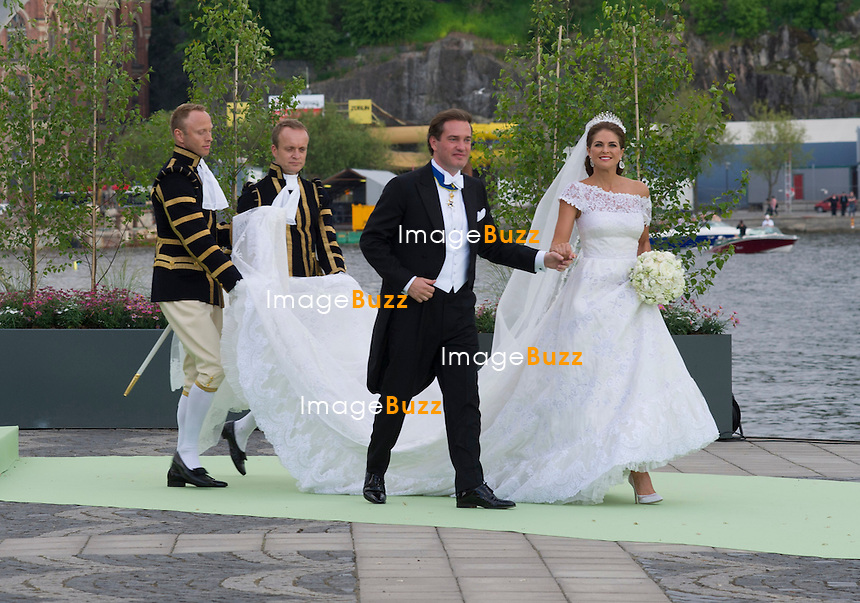 PRINCESS MADELEINE AND CHRISTOPHER O'NEILL WEDDING<br /> The Bridal Couple and Guests arrive for a boat ride to Drottingholm Palace for the Wedding Banquet Riddarholmen, Stockholm, Sweden_08/06/2013