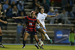 13 November 2015: North Carolina's Alex Kimball (47) and Liberty's Sami Santos (15). The University of North Carolina Tar Heels hosted the Liberty University Flames at Fetzer Field in Chapel Hill, NC in a 2015 NCAA Division I Women's Soccer game. UNC won the game 3-0.