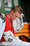 2 September 2012: Washington Nationals' pitcher Stephen Strasburg sits in the dugout during a game against the St. Louis Cardinals at Nationals Park in Washington, DC. The Nationals edged out the visiting Cardinals 4-3, capping their 4-game series with three wins. Mandatory Credit: Ed Wolfstein Photo