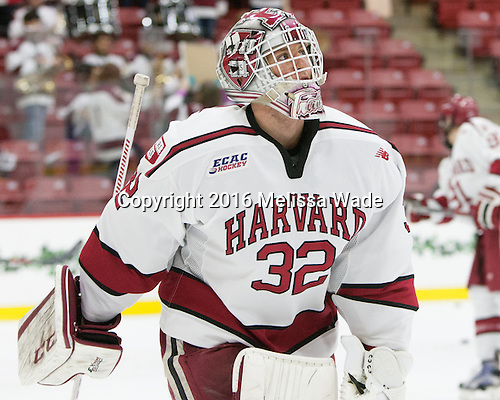 Peter Traber (Harvard - 32) - The Harvard University Crimson defeated the visiting Rensselaer Polytechnic Institute Engineers 5-2 in game 1 of their ECAC quarterfinal series on Friday, March 11, 2016, at Bright-Landry Hockey Center in Boston, Massachusetts.