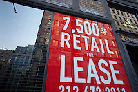 Retail space available in the New York neighborhood of Chelsea seen on Sunday, February 26, 2012. (© Richard B. Levine)
