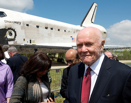 Former United States Senator John H. Glenn departs the ceremony where the Space Shuttle Discovery was signed over to replace the Space Shuttle Enterprise at the Smithsonian Institution's Steven F. Udvar-Hazy Center in Chantilly, Virginia on Thursday, April 19, 2012.  .Credit: Ron Sachs / CNP..(RESTRICTION: NO New York or New Jersey Newspapers or newspapers within a 75 mile radius of New York City)