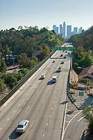 Pasadena Freeway, I-110, Downtown, Los Angeles, CA, Skyline, Traffic, (SR 110) CA 110, Arroyo Seco, Parkway, Traffic