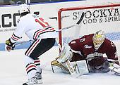 Brodie Reid (Northeastern - 15), John Muse (BC - 1) - The Northeastern University Huskies defeated the visiting Boston College Eagles 2-1 on Saturday, February 19, 2011, at Matthews Arena in Boston, Massachusetts.