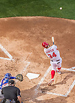 6 April 2015: Washington Nationals outfielder Bryce Harper connects for a solo home run in the 4th inning of the Home Opening Game against the New York Mets at Nationals Park in Washington, DC. The Mets rallied to defeat the Nationals 3-1 in their first meeting of the 2015 MLB season. Mandatory Credit: Ed Wolfstein Photo *** RAW (NEF) Image File Available ***