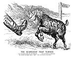"""The Scapegoat that Turned. [""""If I am driven alone into the Wilderness...."""" - Mr. Lloyd George at Manchester. """"My husband thoroughly enjoys a fight."""" - Mrs Lloyd George at East Ham.]"""