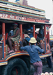 Decorated bus full of passengers, Images of the capital,Port au Prince, Haiti 1975