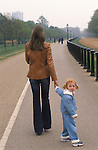 Anna Ermakowa and her mother walking in Hyde Park, London England. She is the Love Child daughter of German tennis star Boris Becker and former Russian waitress Angela Ermalowa / Ernakova after fumbled love making in a London restaurant broom cupboard. 2003.  She is three years old.