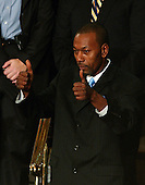 """Washington, D.C. - January 23, 2007 -- Wesley Autrey, the 50 year-old construction worker who won the Bronze Medallion for saving a man who had fallen in a New York City subway station, flashes a """"thumbs-up"""" to United States President George W. Bush after being introduced during the President's State of the Union Address to a joint session of the United States Congress at the Capitol in Washington, D.C. on January 23, 2007. .Credit: Ron Sachs / CNP"""