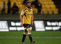 Andrew Hore removes his headgear after being substituted. Super 15 rugby match - Crusaders v Hurricanes at Westpac Stadium, Wellington, New Zealand on Saturday, 18 June 2011. Photo: Dave Lintott / lintottphoto.co.nz